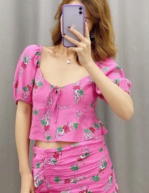 Fashion Rose Red Flower Print Lace Shirt