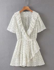 Fashion White Polka-dot Printed Pleated Dress