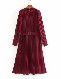 Fashion Red Wine Small Pleated Dress With Belt