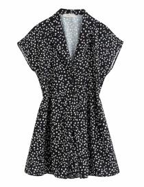 Fashion Black Flower Print Jumpsuit V-neck Jumpsuit