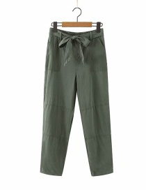 Fashion Army Green Tencel Washed Lace-up Jeans
