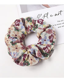 Fashion Beige Floral Cherry Cloth Large Bowel Hair Rope