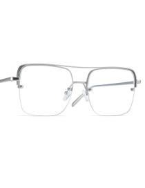 Fashion Silver Frame Half-frame Double Beam Alloy Anti-blue Light Goggles Flat Mirror