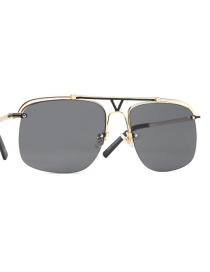 Fashion Gold Frame Black Gray Double Beam Hollow Alloy Sunglasses