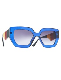 Fashion Blue Frame Double Gray Colorblock Cat Eye Thick Frame Resin Sunglasses