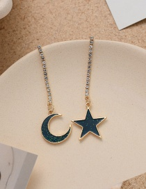 Fashion Golden Star And Moon Long Asymmetric Earrings With Diamonds
