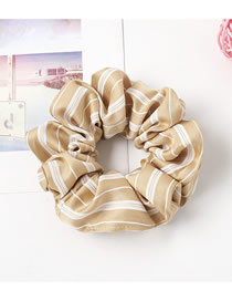 Fashion Champagne Contrast Striped Large Intestine Hair Ring Hair Rope