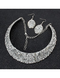 Fashion White Crystal Metal Fake Collar Necklace Earring Set