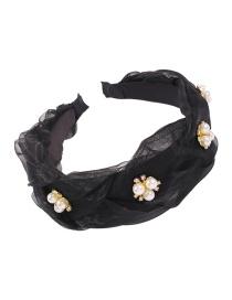 Fashion Black Yarn Material Alloy Imitated Pearl Rhinestone Wide Side Hair Hoop