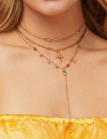 Fashion Golden Alloy Turquoise Resin Cross Necklace