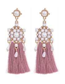 Fashion Leather Pink Alloy Pearl Pendant Tassel Earrings