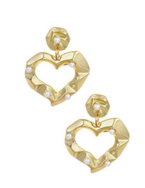 Fashion Golden Alloy Concave Pearl Earrings