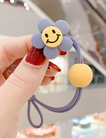 Fashion Grey Blue Smiley Little Flower Ball Hitting Color Knotted Hair Rope