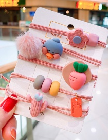 Fashion Pink Carrot (set Of 5) Hairball Cactus Flower Duck Children's Head Rope Set