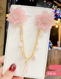 Fashion Pink Crystal Flower Resin Love Child Forehead Chain Card Issue Hair Clip