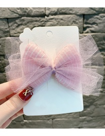 Fashion Pink Striped Lace Bow Child Hair Clip
