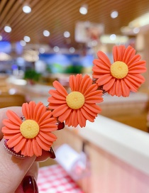 Fashion Orange Series Resin Small Daisy Flower Hit Color Child Hair Clip