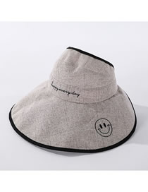 Fashion Beige Cotton And Linen Embroidered Smiley Big Foldable Hat