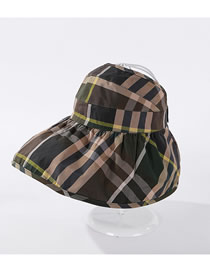 Fashion Green Plaid Striped Empty Uv Protection Hat