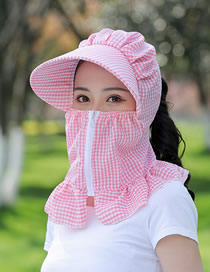 Fashion Pink Small Lattice Multifunctional Face And Neck Protection Integrated Sun Hat