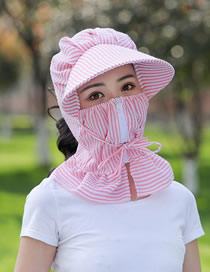 Fashion Pink Striped Face And Neck Riding Cap