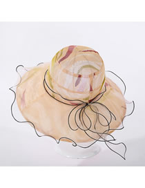 Fashion Beige Net Gauze Edging Anemone Hat