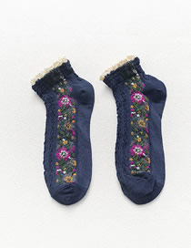 Fashion Navy Lace Floral Stitching Cotton Socks