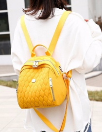 Fashion Yellow Embroidered Diamond Backpack With Zip