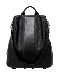 Fashion Black Anti-theft Soft Leather Backpack