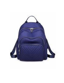 Fashion Blue Double Zipper Anti-theft Diamond Backpack