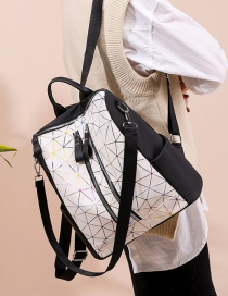 Fashion White Printed Stitched Backpack With Zipper