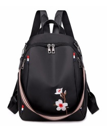 Fashion Black Plum Embroidered Backpack