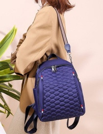 Fashion Blue Embroidered Diamond Double Zipper Backpack