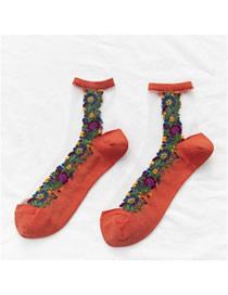 Fashion Orange Red Small Flower Transparent Glass Silk Tube Stockings