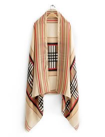 Fashion Khaki Plaid Printed Contrast Shawl Sunscreen Towel