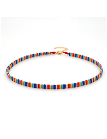 Fashion Color Mixing Woven Beaded Contrast Necklace