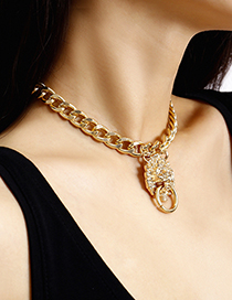 Fashion Golden Single Layer Lion Head Stereo Necklace