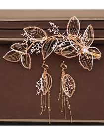 Fashion Golden Crystal Woven Headband Earrings Set With Diamonds