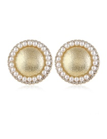 Fashion Yellow Alloy Pearl And Diamond Geometric Round Earrings