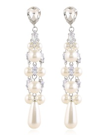 Fashion White Long Pearl And Diamond Tassel Earrings
