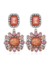 Fashion Red Geometric Round Earrings With Glass And Diamond Alloy