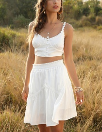Fashion White Small Lace Button Wrapped Chest Strap Top Elasticated Waist Skirt Suit