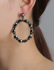 Fashion Black Geometric Round Diamond Stud Earrings