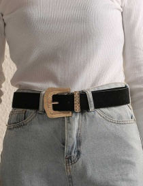 Fashion Black Pu Leather Alloy Belt Buckle Geometric Belt