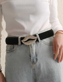 Fashion Mouth Suede Diamond Lip Cutout Belt