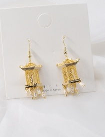 Fashion Golden Hollow Ink Pavilion Pearl Tassel Earrings