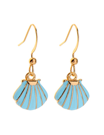 Fashion Blue Drop Glazed Shell Alloy Earrings