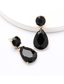Fashion Black Geometric Drop Shape Alloy Diamond Earrings