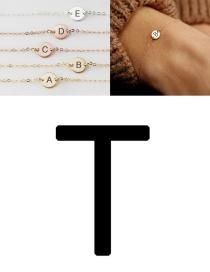 Fashion Golden-t (6mm) Stainless Steel Engraved Geometric Bracelet