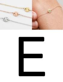 Fashion Golden-e (6mm) Bump Stainless Steel Engraved Geometric Round Bracelet